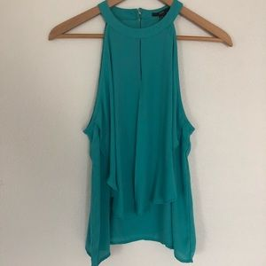 Forever 21 Sleeveless Teal Ruffle Blouse